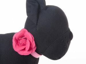 ペット用首輪 猫 小型犬 調整可能 合成革製 お洒落なバラの花飾り#Sサイズ/ローズ AZA-33549