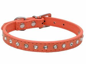 お洒落ペット用首輪 猫 小型犬 調整可能 スエード調 キラキラ ラインストーン飾り付き#Sサイズ/橙色 AZA-33594