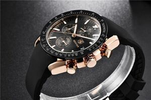 海外人気時計ブランド BENYAR メンズ高品質腕時計 クロノグラフ防水.耐衝撃シリコンバンド ゴールドブラック