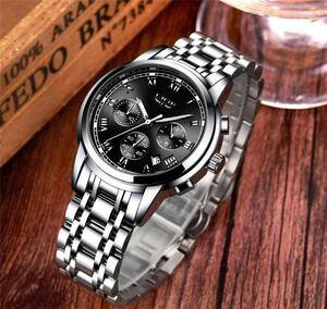 海外大人気ブランドLIGE メンズ高品質腕時計クロノグラフ 防水 耐衝撃 ステンレスバンド black silver