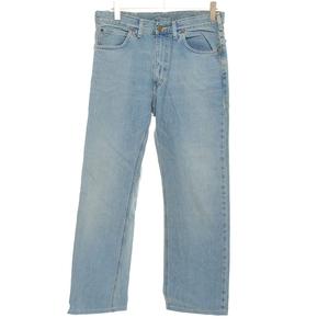 ◆398368 Lee リー ストレートジーンズ デニムパンツ サイズW34 綿100% 黒タグ メンズ 日本製 インディゴブルー 無地