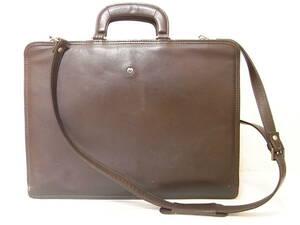 mila schon ミラショーン 2WAY 本革 レザービジネスバッグ ブリーフケース ハンドバッグ 書類鞄 トートバッグ メンズ 茶 ロゴ 多収納◎