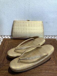 ◆佐賀錦 ハンドバッグと草履のセット 和装小物 ◆A-1278