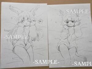<2枚セット> 手描きイラスト 同人 オリジナル 獣耳 獣人 女の子 ラフ画 寝起き ★ボールペン