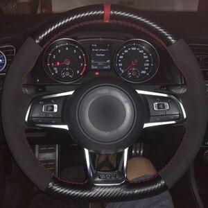 ステアリングホイールカバーノンスリップ黒カーボン 革黒スエードフォルクスワーゲンゴルフ7 GTIゴルフR MK7 VWポロGTI
