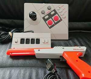 Nintendo 任天堂 純正 ニューファミコン ガンコントローラー スティック マルチタップ セット 光線銃 ジョイカード ジョイスティック