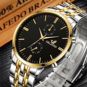 Y089 男性用腕時計 新オーランドファッション クォーツ時計 メンズ シルバーゴールドメッキ ステンレス 鋼 腕時計 masculino レロジオ