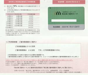 三越伊勢丹ホールディングス 株主優待カード ご利用限度額 200万円 2022年7月31日まで 男性名義ですが女性も可 株主様ご優待カード