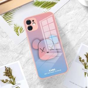 iphone12 ケース カバー ガラス 耐衝撃 おしゃれ くま ピンク×ブルー