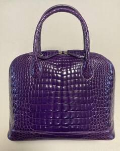 クロコダイル CROCODILE シャイニー ハンドバッグ パープル 紫 未使用 本クロコ ブガッティ 鍵付き トートバッグ