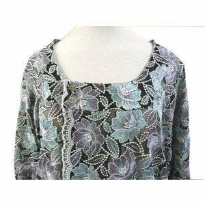 和装コート レースコート 夏用 新品 黒地 紫 花柄刺繍 859