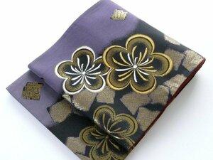 【中古】正絹袋帯 仕立上り 紫と黒地 金の梅 鹿の子 055