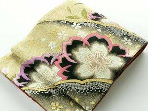【中古】正絹袋帯 仕立上り 金に桜 雪輪鹿の子模様 着付けの練習やディスプレイにも 037