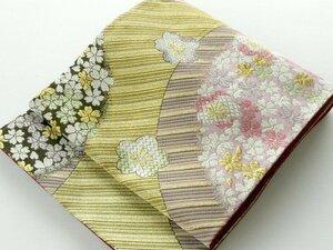 【中古】正絹袋帯 仕立上り 金の縞模様 桜柄 025