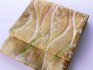 【中古】正絹袋帯 仕立上り ゴールドに花びら 054