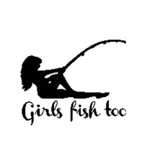 W471【ステッカー・2枚発送】女性釣り人デザイン 13×10.6cm ビニールデカール 車バイク部屋等の外観の装飾等
