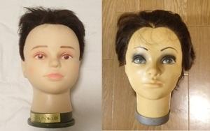 カットウィッグ 2台分 ヘッドマネキン カット済み 美容師 理容師 練習用