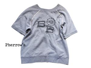 【Pherrow's◆フェローズ】染み込みプリント! ヴィンテージ風 半袖スウェット Sサイズ◆DB|SWT