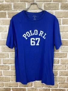 ★Polo Ralph Lauren ポロ ラルフローレン★ ヴィンテージ加工 ロゴプリント 半袖 Tシャツ 青 ブルー 丸首 激安 格安 メンズ XL