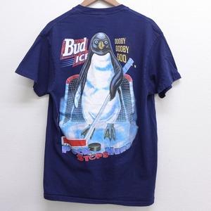 L 古着 半袖 ビンテージ Tシャツ メンズ 90年代 90s バドワイザー ペンギン コットン クルーネック USA製 紺 ネイビー spe 中古