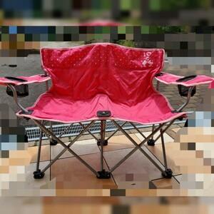 【ディズニー】折りたたみ椅子 アウトドア ツインチェア 二人掛け ピンク