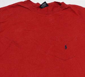 ST63ラルフローレンRALPH LAURENポロPOLOアメリカ古着ポケットTシャツ赤系Tシャツ無地TシャツLビッグサイズ胸刺繍ワンポイント/オールド