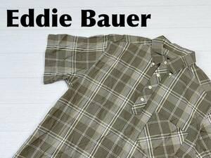 ☆送料無料☆ Eddie Bauer エディーバウアー 古着 半袖 チェック柄 ボタンダウン ボックス シャツ メンズ S グリーン トップス 中古 即決
