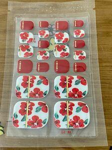 足用 フットネイル ネイルシール ジェルネイル 赤 椿 花柄☆