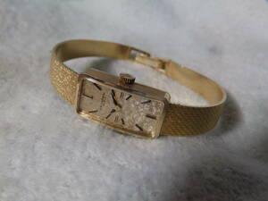 稼働中・スイス製・ユニバーサルジュネーブ女性用手巻き時計・金無垢14K・Universal Geneve