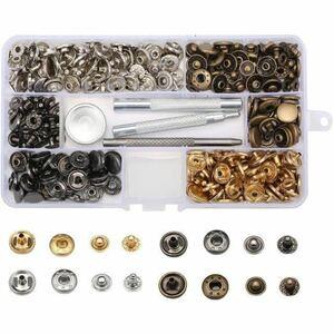 KING DO WAY レザークラフト バネ ホック 打ち具セット 80組 4種類 4色 12.5mm ホックボタン ス