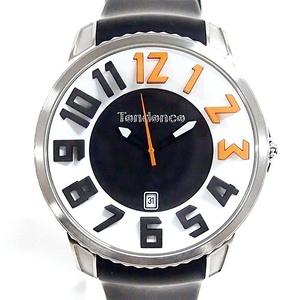 【良好】Tendence メンズ ガリバー ラウンド 3D インデックス <腕時計> オレンジ x ブラック GULLIVER ROUND 黒 クオーツ テンデンス