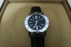 【美品激安】BVLGARI 2針カレンダー 黒文字盤 ブルガリブルガリ BB26SL レディース腕時計QZ送料無料電池交換済み