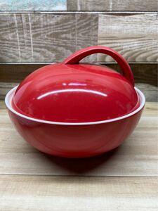 【未使用】アペックス マロン 陶器 レンジスチーム レッド レンジで簡単蒸し料理