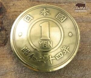▼コンチョ ループ式 日本古銭 1円黄銅貨 1YEN面 19mm