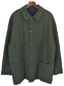 【中古】HERMES エルメス キルティングリバーシブルコート ジャケット グリーン×ネイビー 50 メンズ