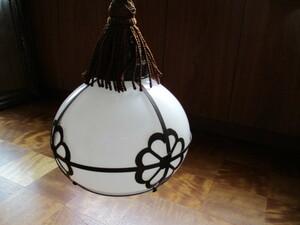 銅製花模様付乳白ガラス電笠ぼんぼり電気ランプ照明インテリアレトロビンテージアンティーク