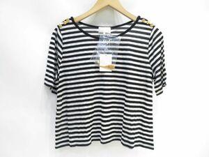139●【未使用】組曲 KUMIKYOKU 肩ボタン 金ボタン ボーダー カットソー Tシャツ 半袖 ネックレス付き サイズ:2