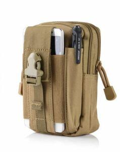 タクティカルモバイルポーチ Tactical &pouch カーキー ベルトポーチ 多機能ポーチ!