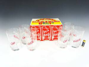 ◆③【未使用】昭和レトロ 当時物 コカ・コーラ ワールドグラス 6個 デッドストック Coca Cola 企業物 食器 グラス タンブラー 箱入り