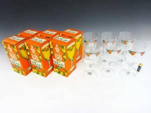 ◆①【未使用】非売品 サントリー オレンジ 50 ゴブレット グラス 6客セット SUNTORY ORANGE 50 昭和レトロ 企業物 食器 デッドストック