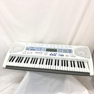 中古 CASIO カシオ 電子キーボード LK-180TV 光ナビゲーション 61鍵盤 シルバー ブルー系 電子ピアノ アダプター付き 鍵盤楽器 H15207