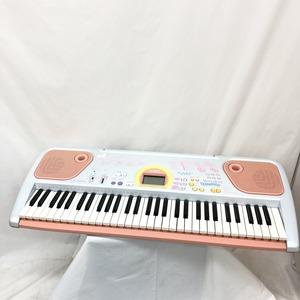 中古 CASIO カシオ 電子キーボード LK-102PK 61鍵盤 光ナビゲーション シルバー ピンク系 ポップカラー 電子ピアノ H15209