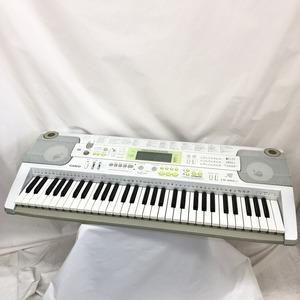 中古 CASIO カシオ 電子キーボード 光ナビゲーション LK-202TV 61鍵盤 シルバー グリーン 電子ピアノ 鍵盤楽器 アダプター 難あり H15233