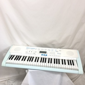 中古 CASIO カシオ 電子キーボード LK-108 光ナビゲーション ホワイト グリーン 61鍵盤 電子ピアノ 鍵盤楽器 アダプター付き H15237