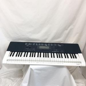 中古 CASIO カシオ 電子キーボード LK-215 光ナビゲーション タッチレスポンス 61鍵盤 ホワイト ネイビー 鍵盤楽器 電子ピアノ H15254