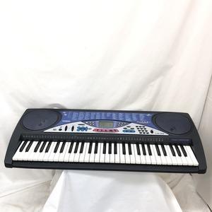 中古 CASIO カシオ 電子キーボード LK-55 61鍵盤 ダークネイビー系 光ナビゲーション 電子ピアノ 鍵盤楽器 アダプター付き H15251