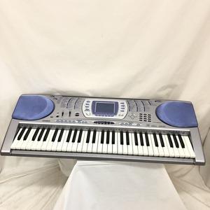 中古 CASIO カシオ 電子キーボード LK-250it 光ナビゲーション ケイタイリンク シルバー ブルー 電子ピアノ 鍵盤楽器 アダプター付 H15354