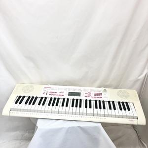 中古 CASIO カシオ 電子キーボード 光ナビゲーション LK-121 61鍵盤 電子ピアノ ホワイト ピンク 鍵盤楽器 アダプター付き H15423
