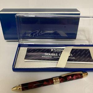 レガンス柄 箱付 PLATINUM プラチナ ダブルアクション R3 希少品 レッド ボールペン シャープペン
