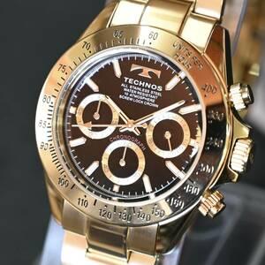 送料無料★特価 新品 TECHNOS正規保証付き★テクノス 限定品 ゴールド 金色 T4684GB メンズ腕時計 クロノグラフ 10気圧防水★プレゼントに